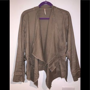 Free People olive open front S jacket